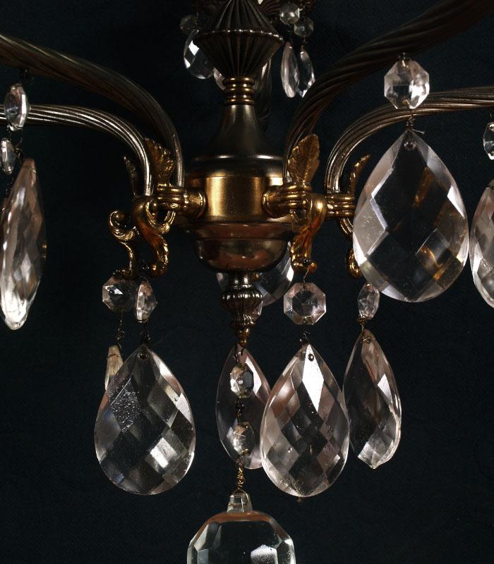 Lampadario vintage ottone dorato argentato gocce in vetro - Lampadari per camera da letto ...