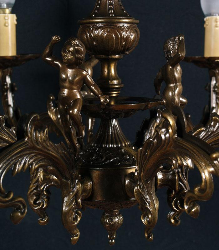 Lampadario vintage in ottone bronzato putti in stile luigi xvi 6 luci la 101 ebay - Camere da letto stile antico ...