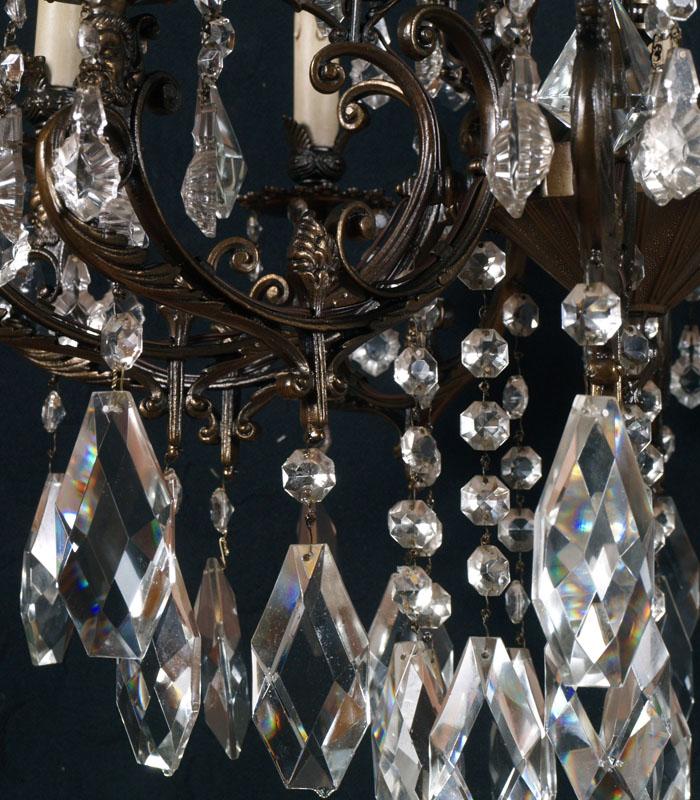 Grande lampadario vintage ottone bronzato gocce in vetro for Amazon camere da letto complete