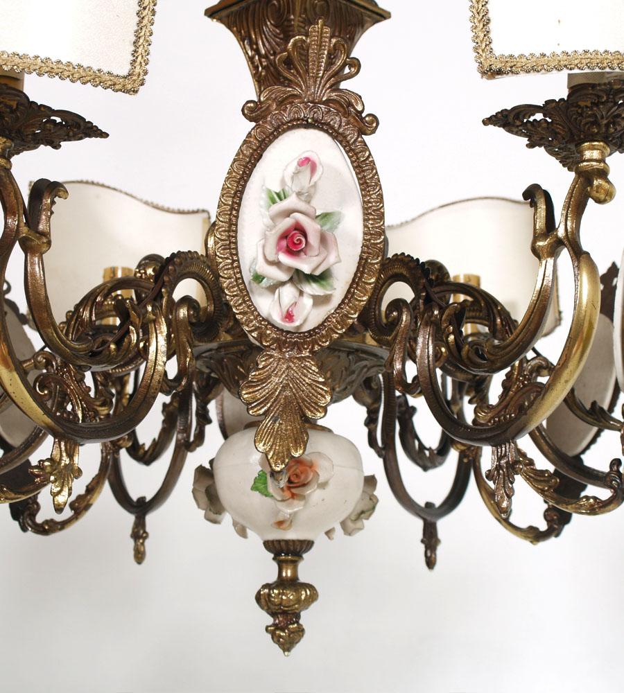 lampadario vintage : LAMPADARIO VINTAGE LIBERTY PRIMI 900 IN OTTONE E CERAMICA 6 LUCI - LA ...