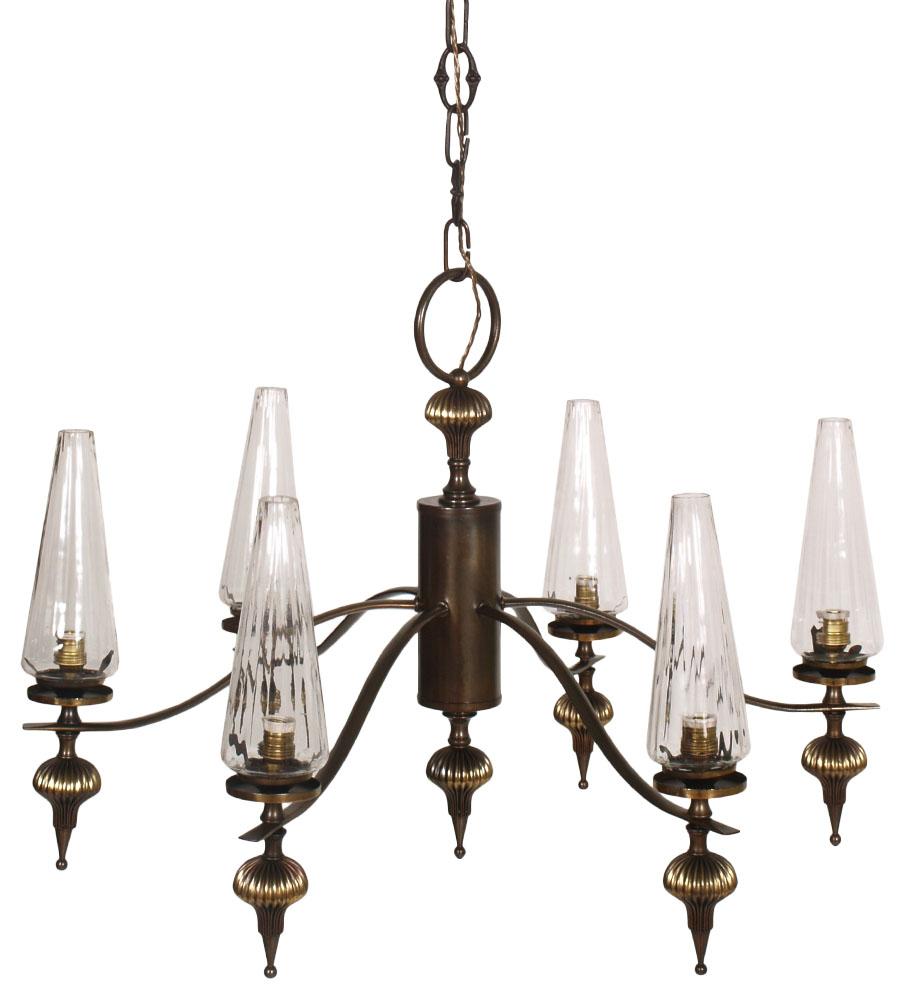 lampadari ottone : LAMPADARIO OTTONE ART DECO 6 LUCI ANNI 30