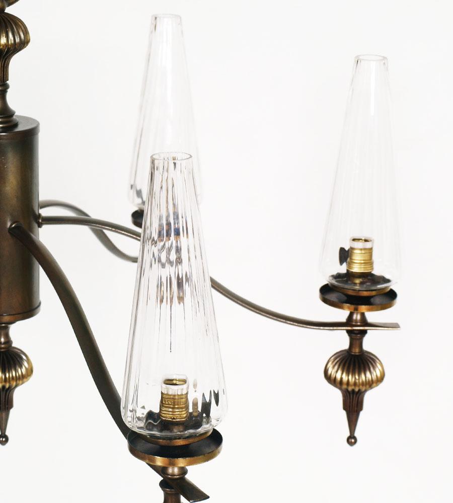 LAMPADARIO art deco CEALING LAMP 1930s BRASS OTTONE MURANO ...