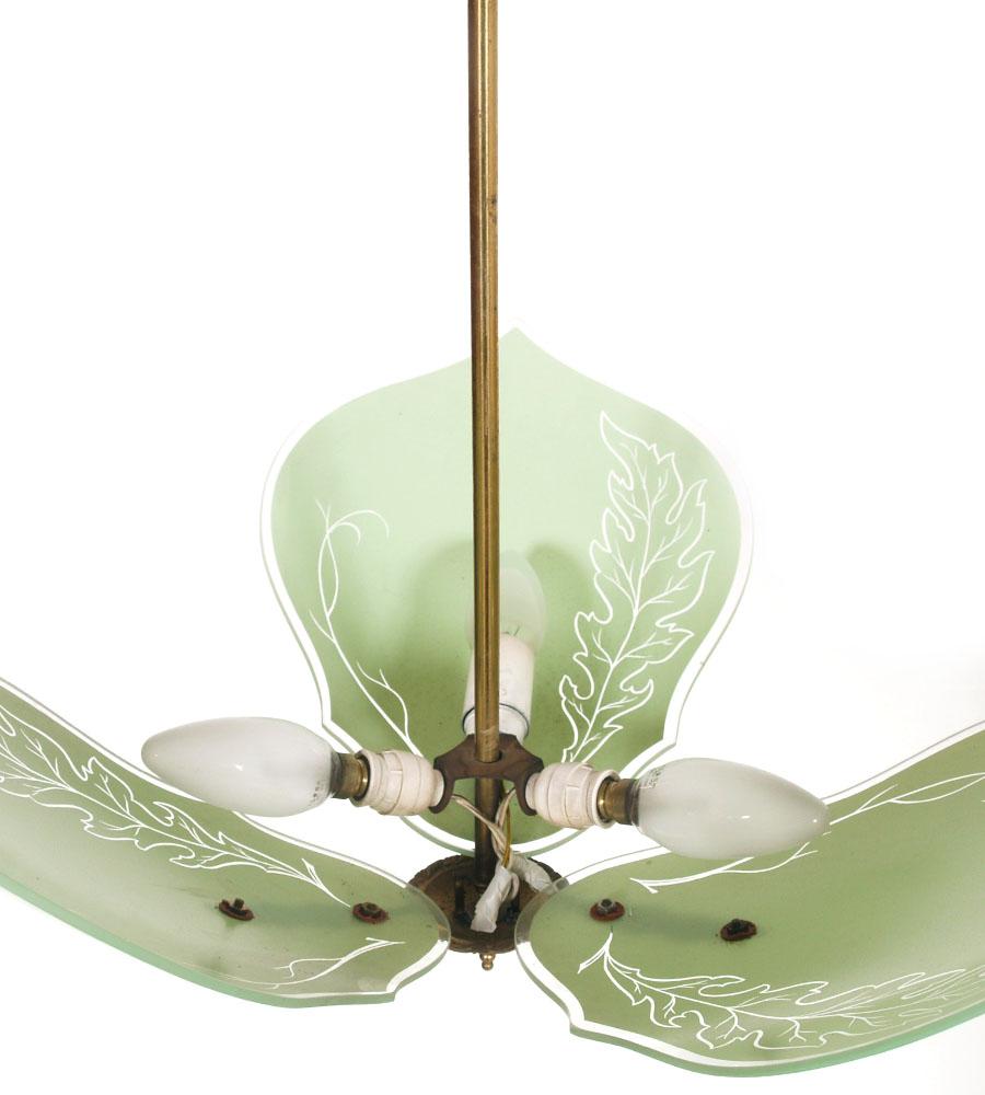 lampadario art deco : lampadario-art-deco-foglie-verdi-ottone-anni-30-LA118-3.jpg