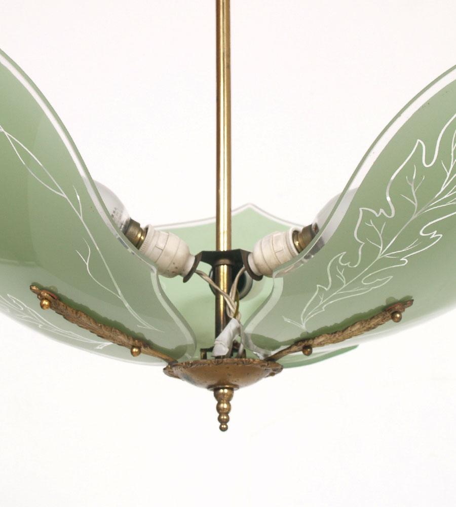 lampadario vintage : LAMPADARIO VINTAGE OTTONE 3 LUCI CON FOGLIE VETRO ART DECO ANNI 30 ...