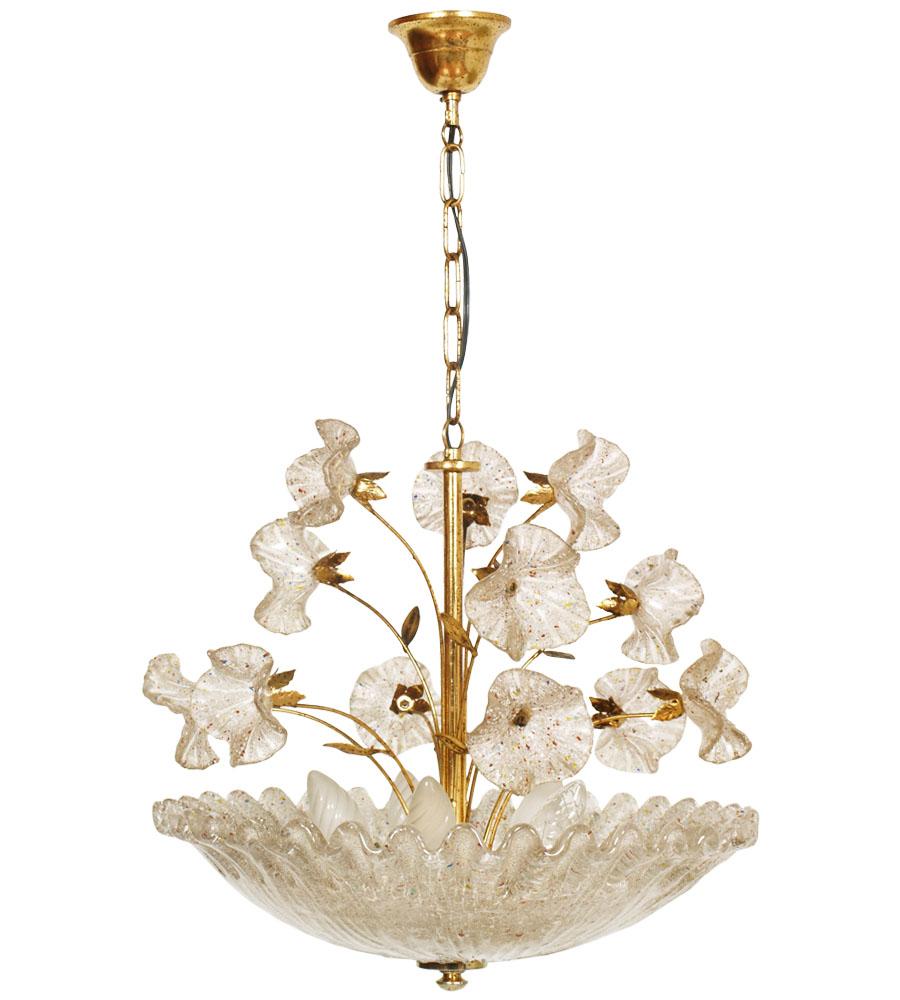 Lampadario plafoniera 5 luci design anni 39 70 ottone vetro for Graniglia di vetro