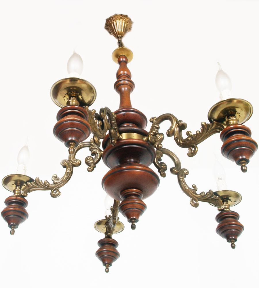 lampadario bronzo : lampadario-bronzo-legno-tornito-5-luci-neoclassico-LA122-3.jpg