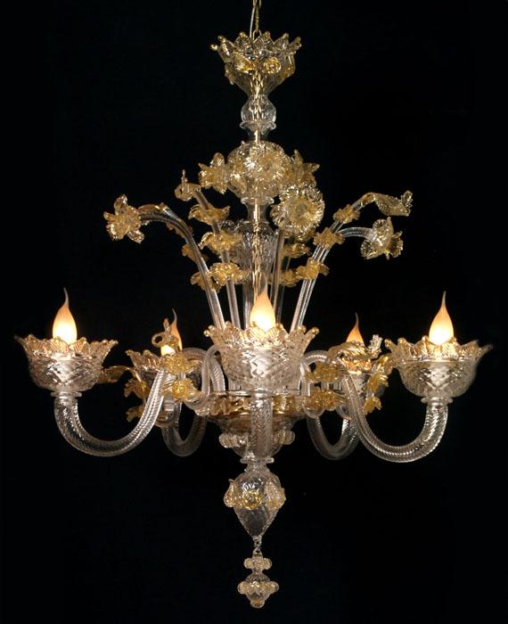 lampadari murano usati : Dettagli su LAMPADARIO IN VETRO SOFFIATO DI MURANO 5 LUCI TRASPARENTE