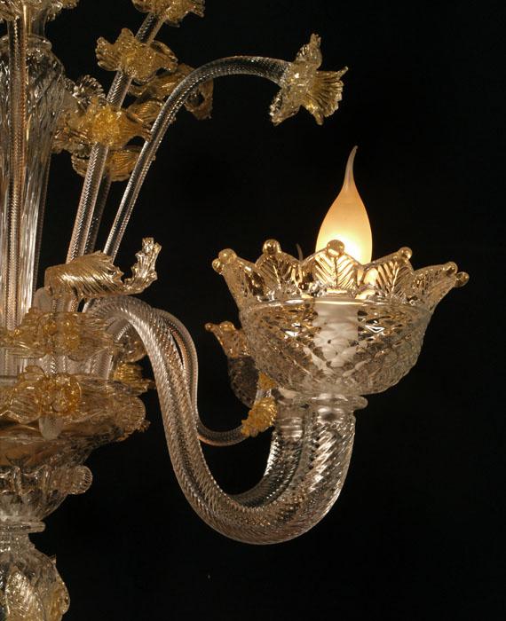 e bay lampadari : ... Vetro Soffiato DI Murano 5 Luci Trasparente E Scaglie ORO LA 93 eBay