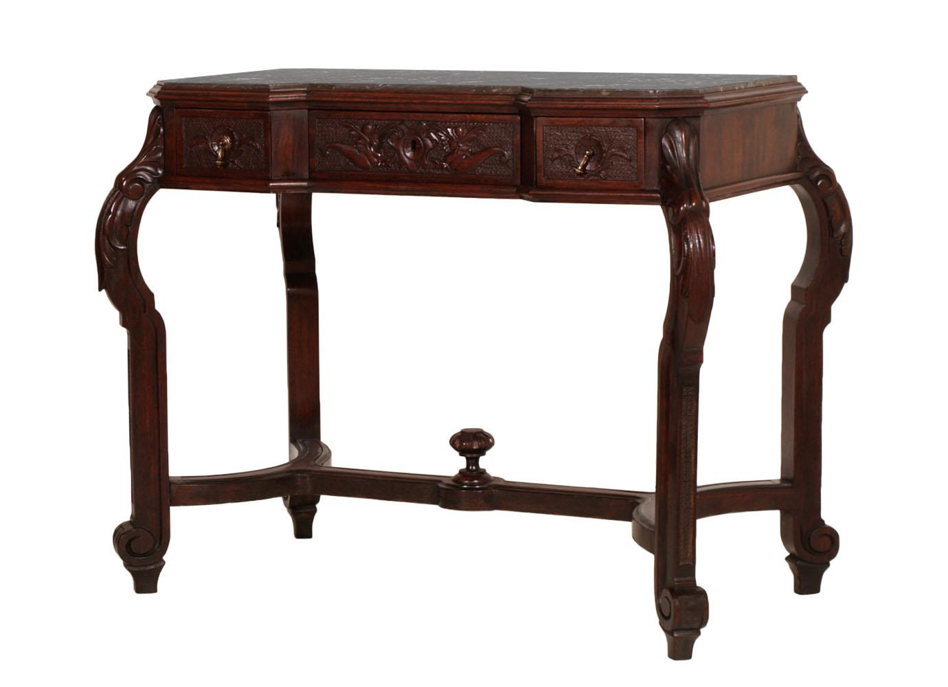 antica console scrittoio liberty fine 39 800 in noce con piano in marmo ma c22 ebay. Black Bedroom Furniture Sets. Home Design Ideas