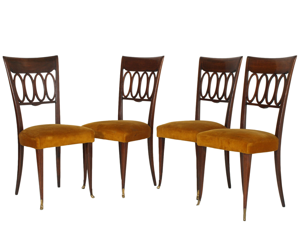 Set 4 sedie vintage design paolo buffa 1940s mid century for Sedie design vintage