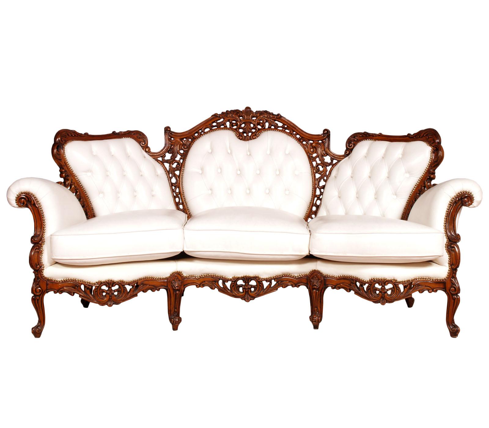 Antique baroque sofa with armchairs divano barocco con for Divano barocco