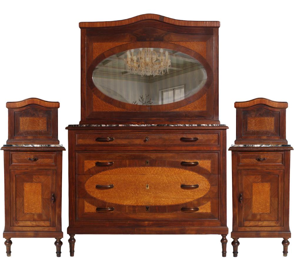 Antico como 39 cassettone comodini specchio intarsiati liberty 39 800 com ma e96 ebay - Comodini a specchio ...