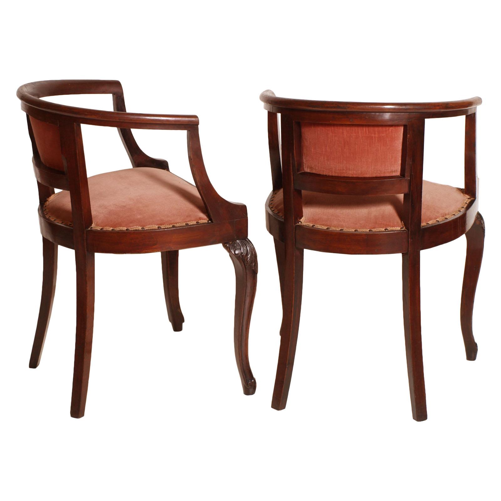 Antique liberty pair of chairs poltroncine coppia sedie pozzetto in noce ma f81 ebay - Poltroncine da camera ...