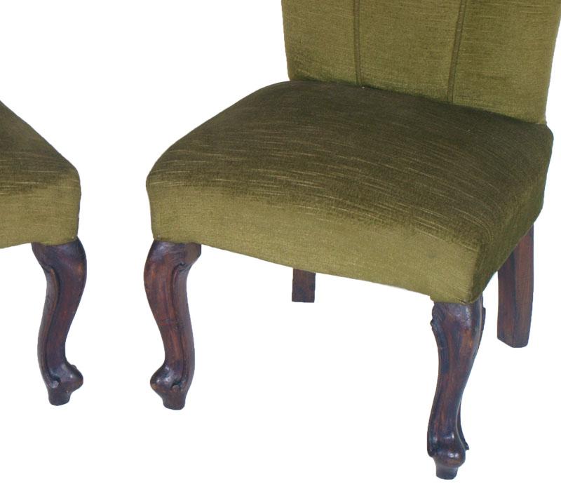 Coppia poltroncine poltrone sedie verdi barocco noce for Poltrone barocche