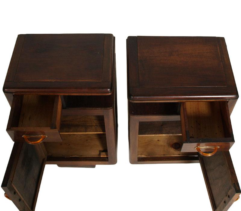 coppia comodini deco in noce vintage primi 39 900 art dec ma g62 ebay. Black Bedroom Furniture Sets. Home Design Ideas