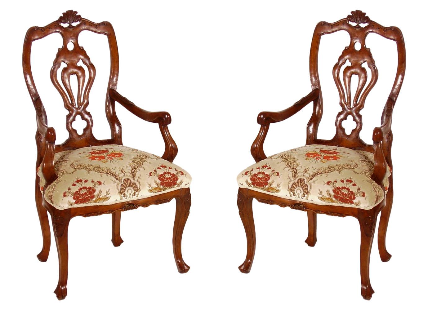 Antica coppia poltrone sedie 39 700 barocco veneziano for Sedia antica con braccioli