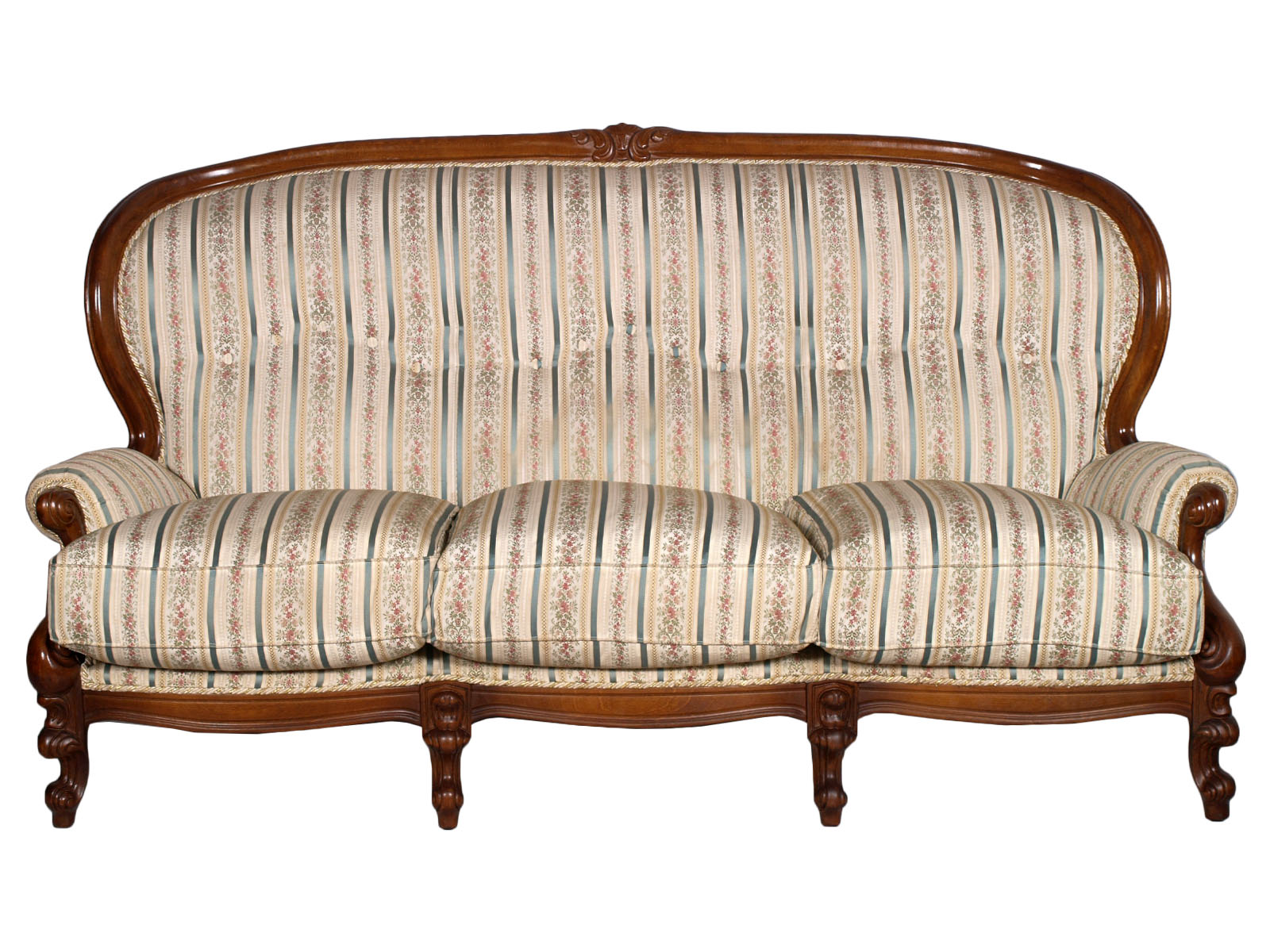 Antique baroque sofa divano barocco periodo liberty noce intagliato ma h59 ebay - Divano luigi filippo ...