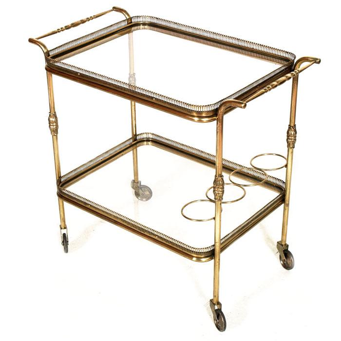 Carrello design vintage mid century gold brass trolley bar service ottone ma i39 ebay - Carrello portavivande design ...