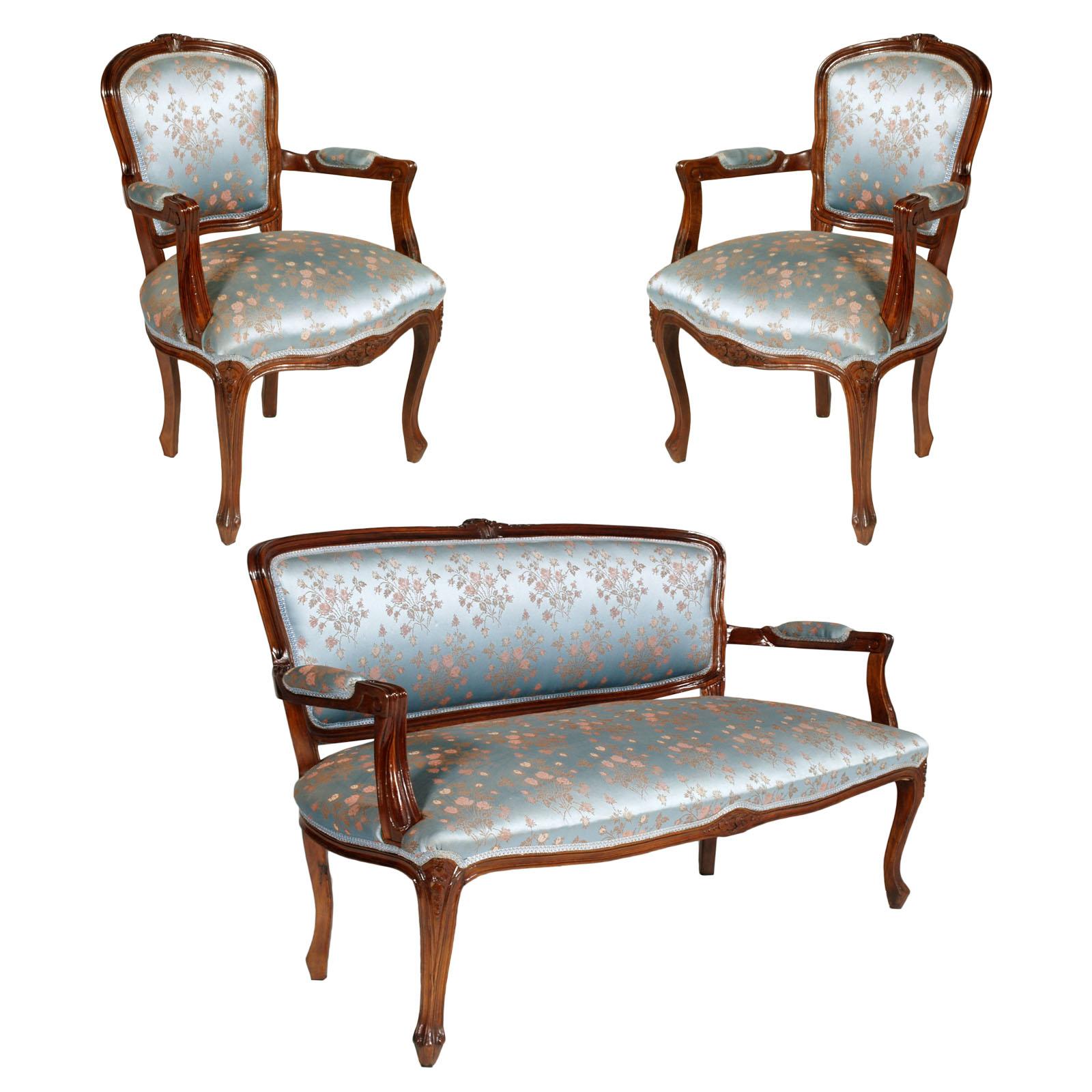 Antique baroque sofa with armchairs divano con poltrone for Divano con poltrone