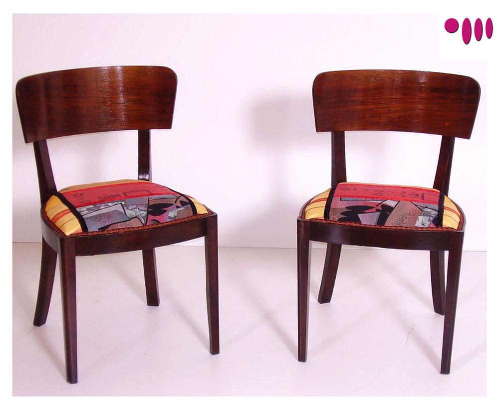 Coppia sedie art dec in tessuto patchwork futurista for Sedie tessuto design