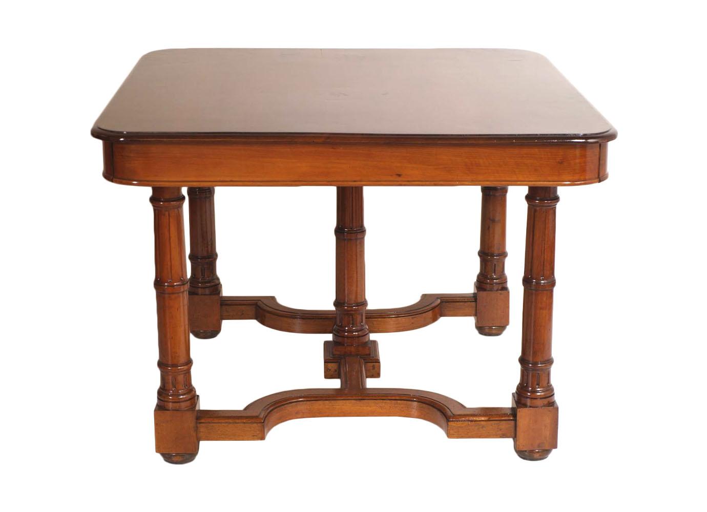 Antico tavolo quadrato allungabile con sei sedie noce 39 800 neoclassico ma m72 ebay - Tavoli da pranzo antichi ...