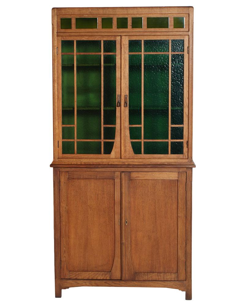 Antica Credenza Vetrina Art Nouveau Rovere Primi 900 Vetro