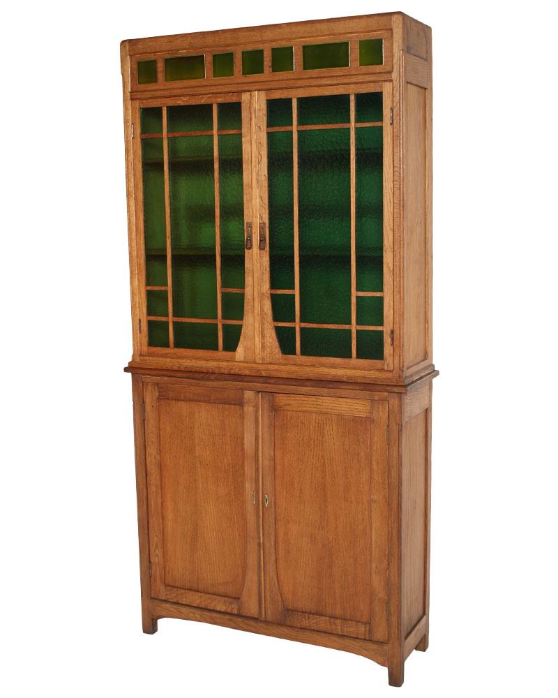 Antica credenza vetrina art nouveau rovere primi 900 vetro for Arredamento art nouveau