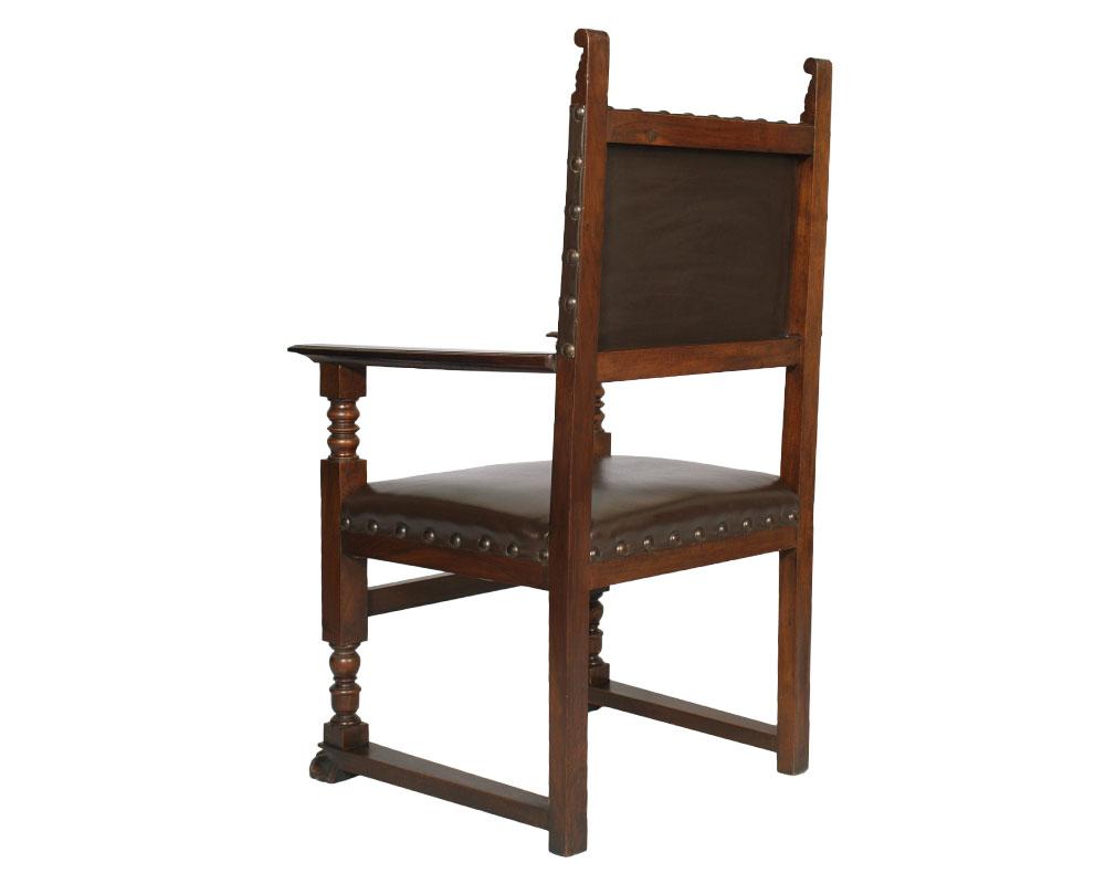 Antique study office renaissance desk desk with 3 chairs for Sedia antica con braccioli