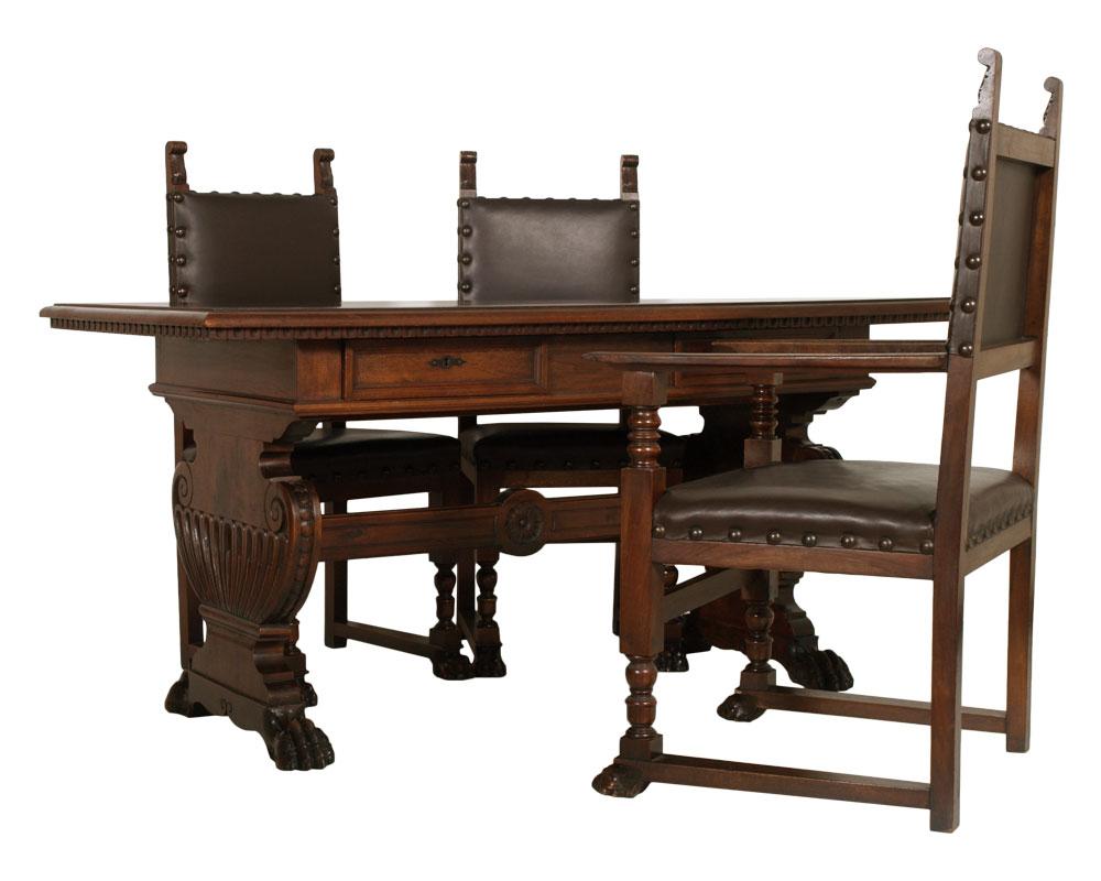 Antico studio ufficio rinascimento scrittoio scrivania con for Poltrone per studio