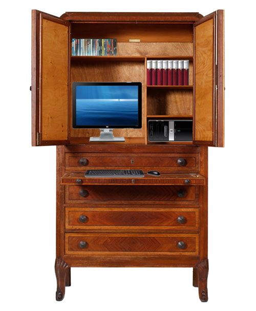 Secretaire scrittoio mobile porta pc tv noce como 39 art - Mobile pc a scomparsa ...