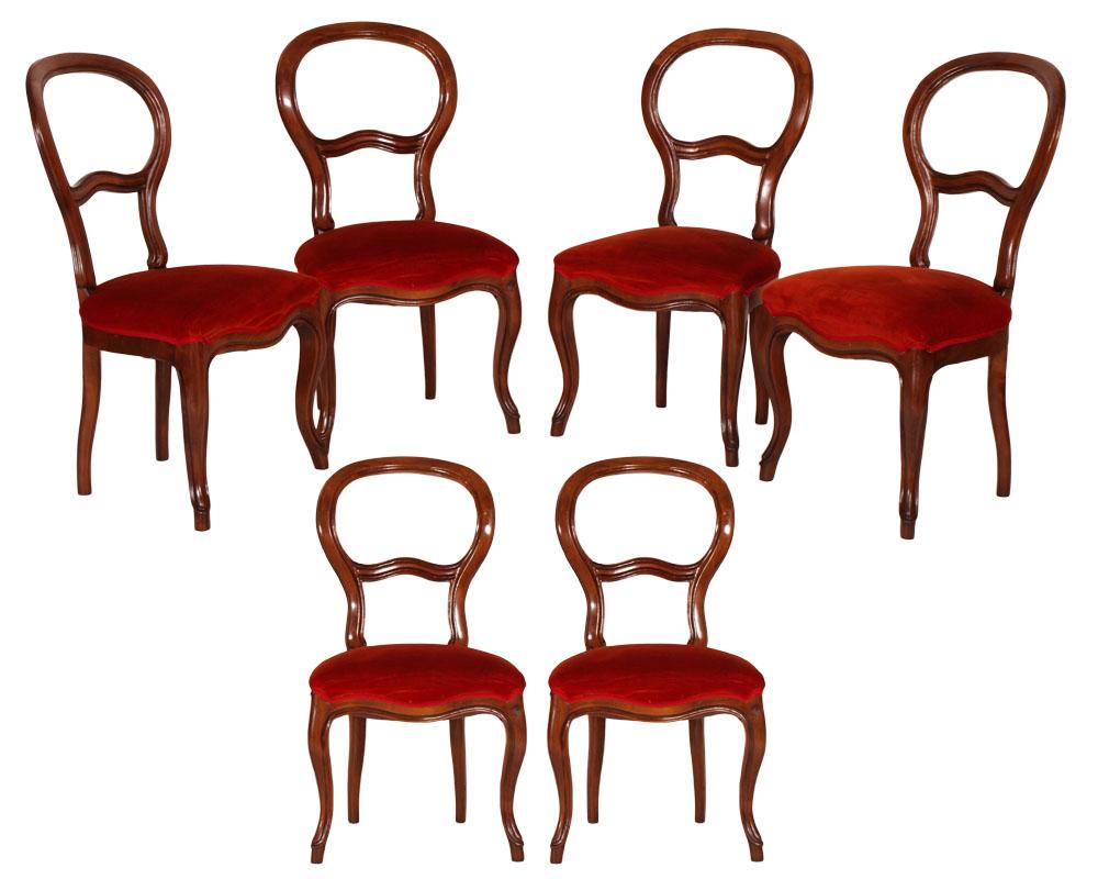 Antiche sei sedie barocco luigi filippo a giorno in noce for Sedie in ecopelle rosse