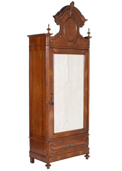 Antico armadio guardaroba anta specchio umbertino noce 800 for Mobili 800 italiano