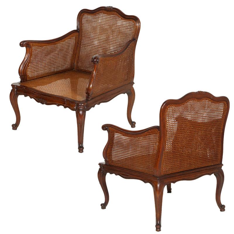Salotto divano 2 poltrone luigi xv barocco in noce e for Poltrone per salotto