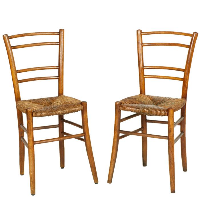 Coppia sedie campagnole contadine arte povera 800 faggio for Sedia impagliata