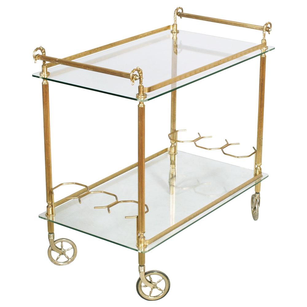 Carrello design vintage mid century gold brass trolley bar - Carrello portavivande design ...