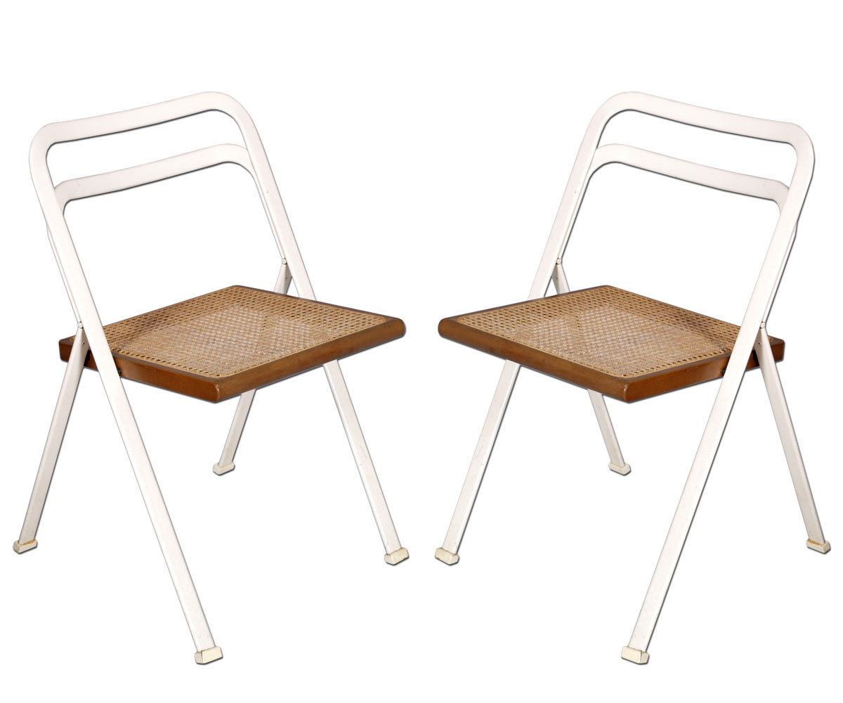 Pair of folding chairs 2 sedie pieghevoli cidue afra e for Sedie pieghevoli design