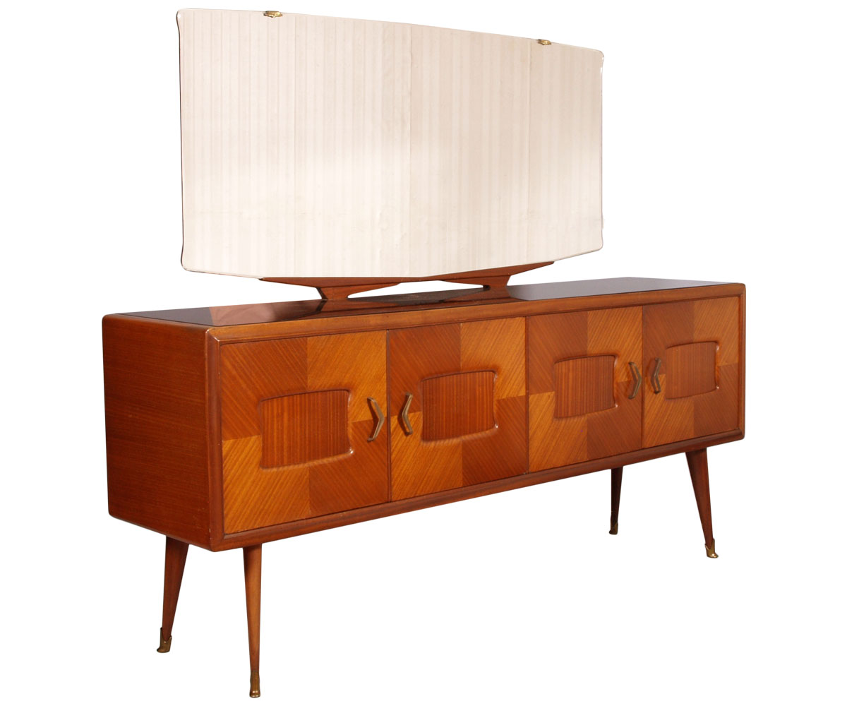 1940 Mid Century Modern Sideboard With Mirror Credenza