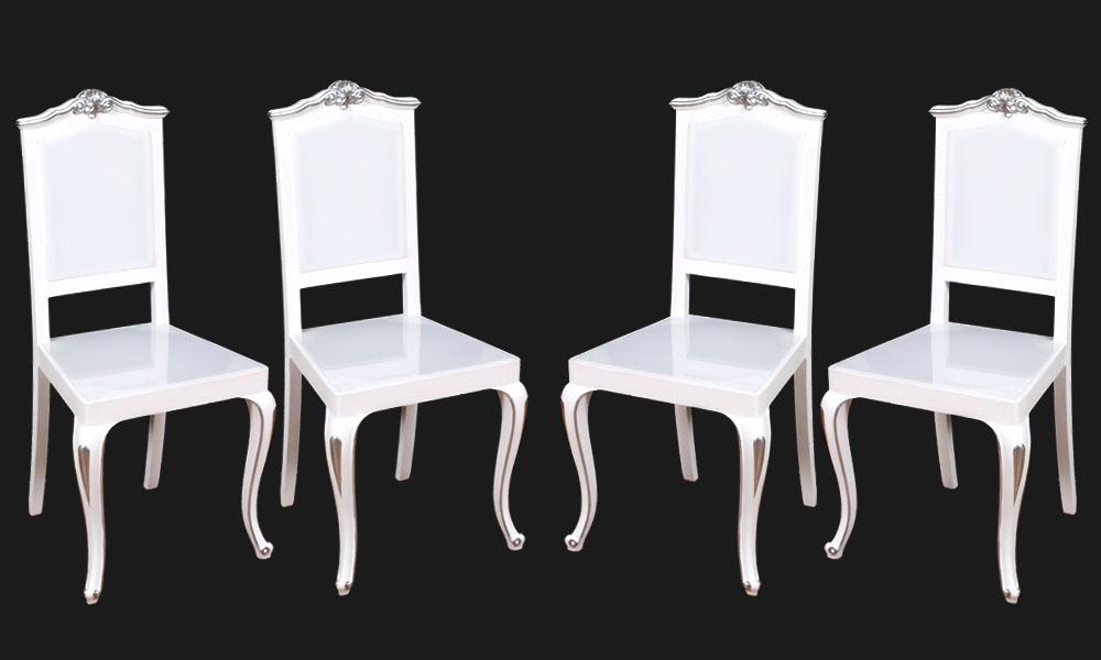 quattro sedie plexiglass luminose led barocche laccate
