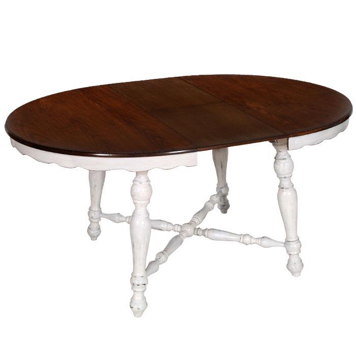 Tavolo tondo allungabile 4 sedie shabby chic laccato bianco decapato my 42b - Dimensioni tavolo tondo 4 persone ...