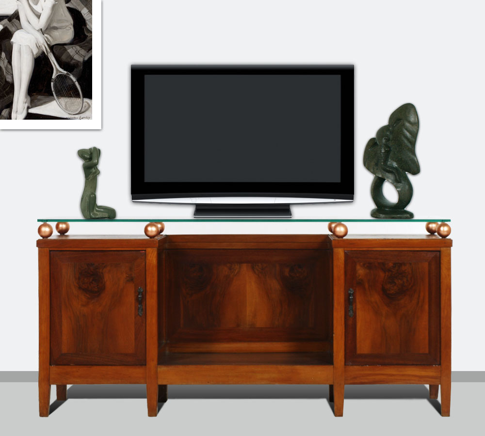 mobile porta tv art deco 39 console bassa piano in vetro noce rame dec my 58 ebay. Black Bedroom Furniture Sets. Home Design Ideas