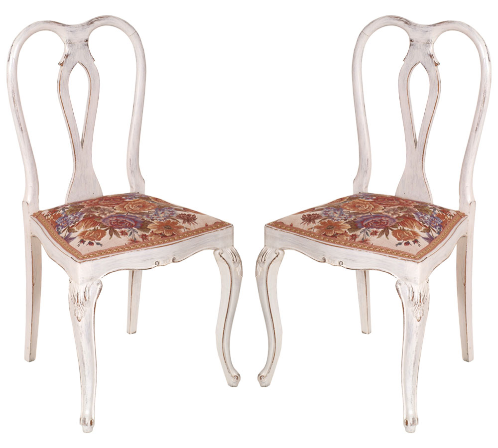 coppia sedie shabby chic barocco chippendale primi 900