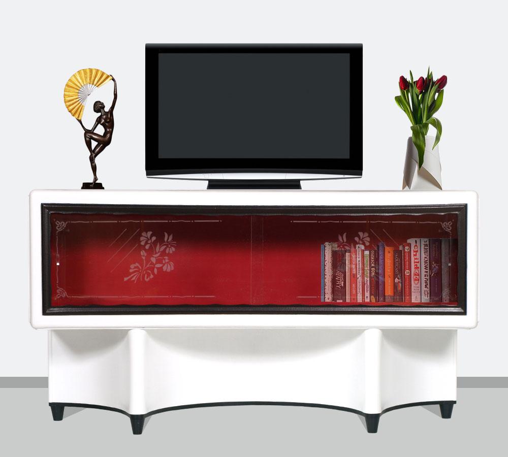 Mobile porta tv art deco 39 console vetrina laccata bianco nero rosso dec my 69 ebay - Deco tv ...