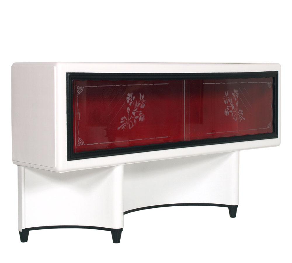 Mobile porta tv art deco 39 console vetrina laccata bianco for Mobile per console