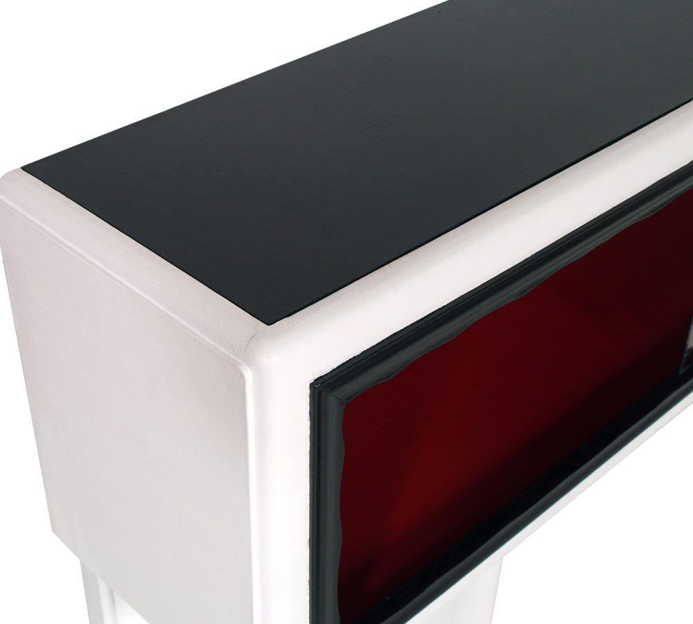 Mobile porta tv art deco 39 console vetrina laccata bianco nero rosso dec my 69 ebay - Porta tv nero ...