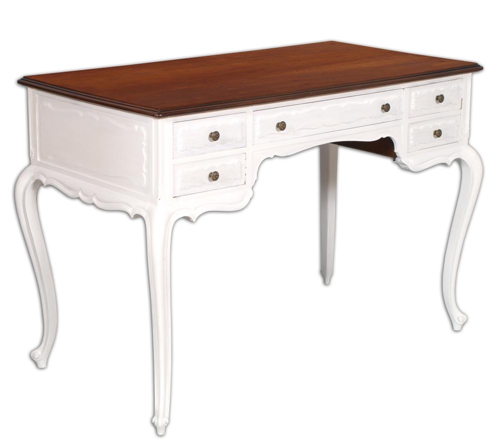 Scrittoio scrivania shabby chic barocco mosso bianco piano for Scrivania shabby