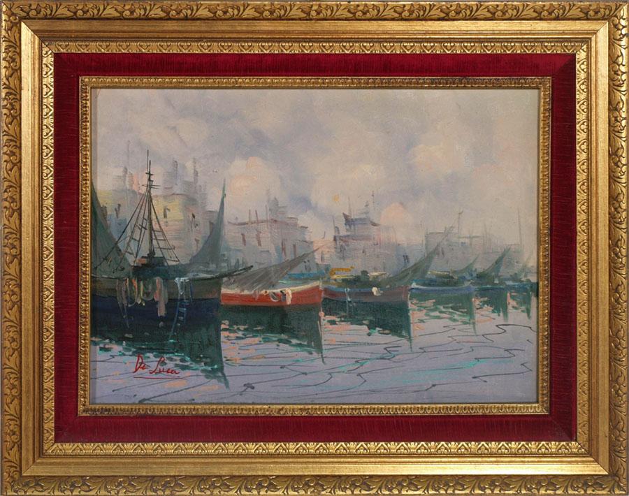 quadro dipinto olio su tela de luca paesaggio marittimo