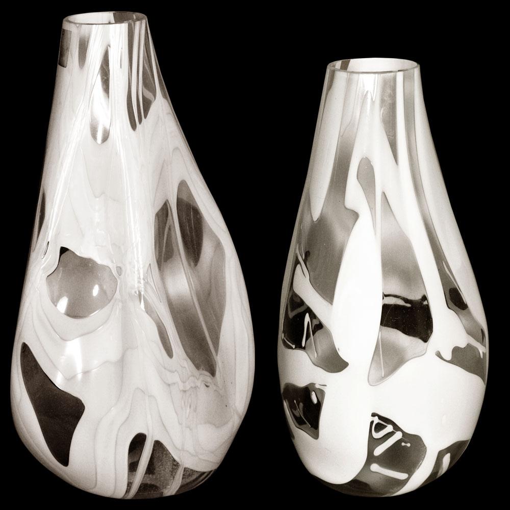 Coppia vasi venini vetro murano glass bianchi design 1960s for Vasi vetro design