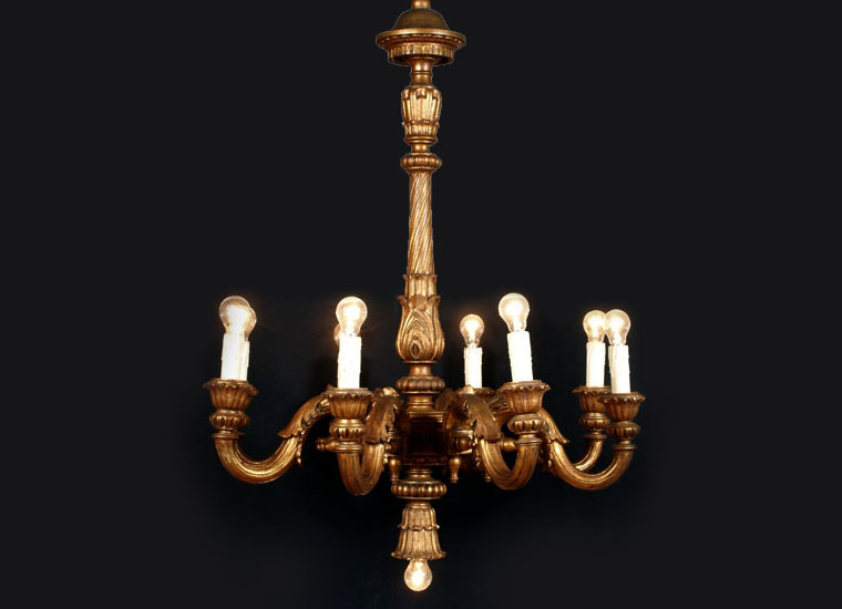 antique-gilded-wood-chandelier-LA87-1 ... - Antique Gilded Wood Chandelier - LA87 Antiques Artistic