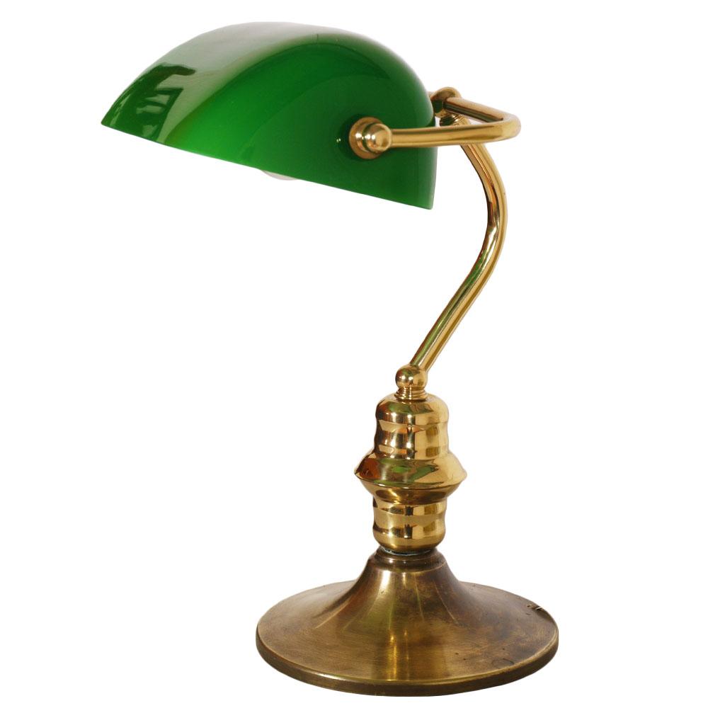 Details about VECCHIA LAMPADA DA TAVOLO VETRO VERDE OTTONE OLD ENGLAND ...