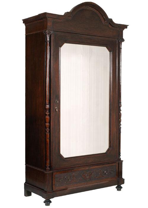 Armadio Guardaroba 1 Anta.Dettagli Su Antico Grande Armadio Ottocento Con Anta A Specchio In Noce Fine 800 Ma C19